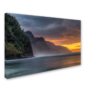 Napali Sunset Kauai by Pierre Leclerc Photographic Print on Wrapped Canvas by Trademark Fine Art