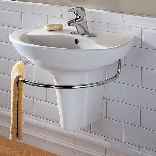 Ravenna Vitreous China 24 Semi-Pedestal Bathroom Sink with Overflow by American Standard