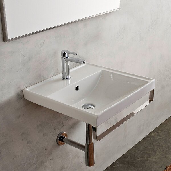 ML Ceramic 25 Wall Mount Bathroom Sink with Overflow by Scarabeo by Nameeks