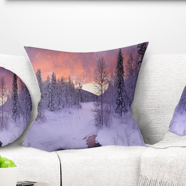 Landscape Finnish Lapland Trees in Winter Pillow by East Urban Home