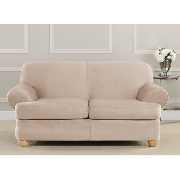 Ultimate Heavyweight Stretch Suede T-Cushion Loveseat Slipcover By Sure Fit
