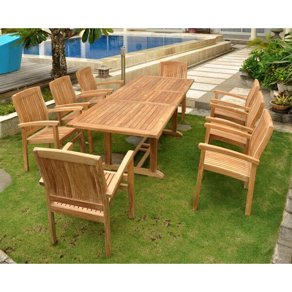 Farnam 9 Piece Teak Dining Set by Rosecliff Heights