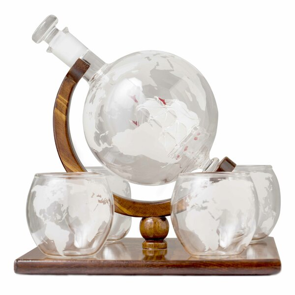 Dunkirk Glass Globe on Wood 5 Piece Beverage Serving Set by Darby Home Co