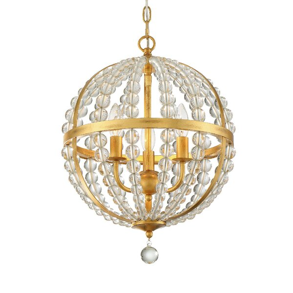 Gateshead 3 - Light Unique/Statement Sphere Chandelier With Beaded Accents By Rosdorf Park