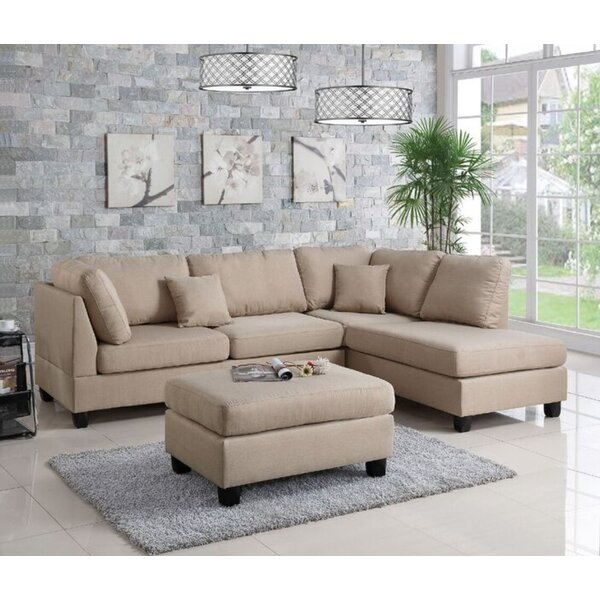 Corry Reversible Right Hand Facing Sectional with Ottoman by Ebern Designs