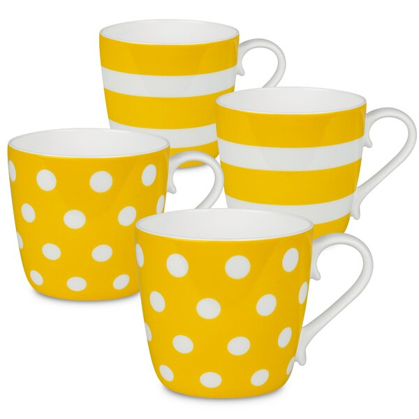 Sterling Polka Dots and Stripes 4 Piece Coffee Mug Set by Latitude Run