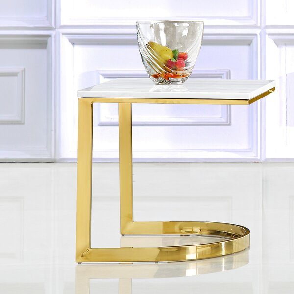 Mercedes Marble End Table By Everly Quinn