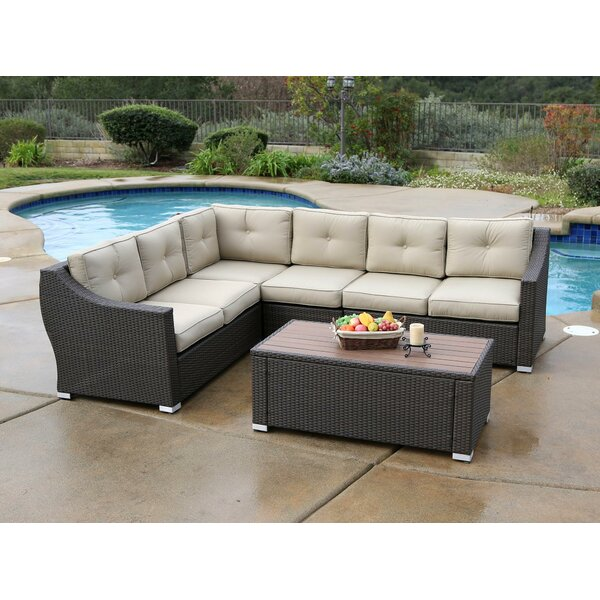 Ehlers 5 Piece Rattan Sectional Set with Cushions by Darby Home Co Darby Home Co