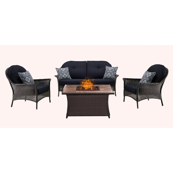 Kinnison 4 Piece Sofa Set with Cushions by Bayou Breeze