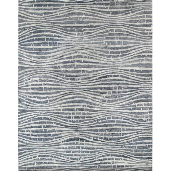 Modern Hand-Knotted Blue/Ivory Area Rug by Pasargad