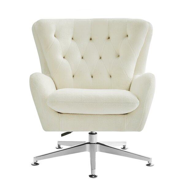 Lorelei Upholstered Swivel Wingback Chair by Rosdorf Park