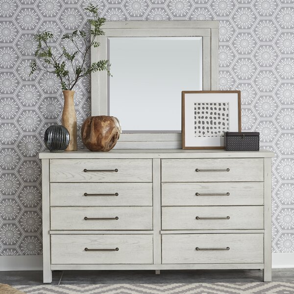 Aureliusz 8 Drawer Double Dresser with Mirror by Gracie Oaks