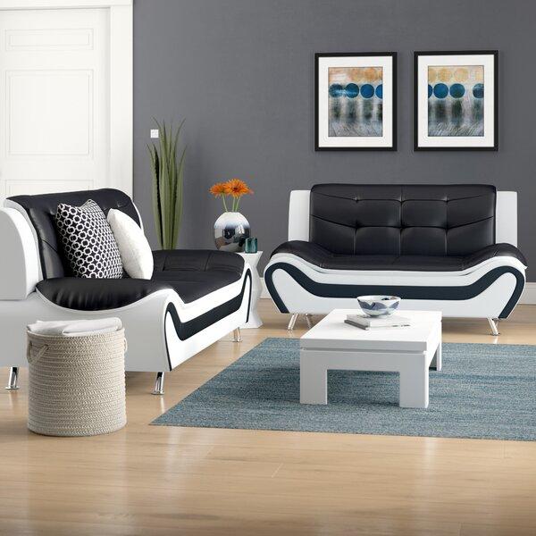 Reviews Crocker 2 Piece Leather Living Room Set by Orren Ellis