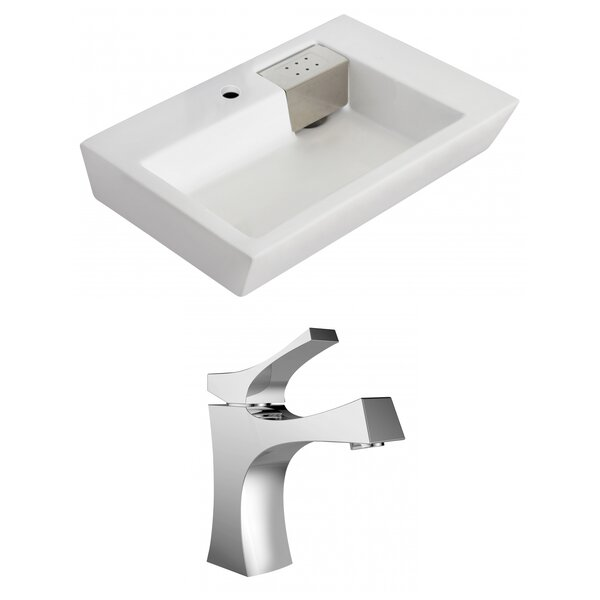 Ceramic 26 Wall Mount Bathroom Sink with Faucet and Overflow by Royal Purple Bath Kitchen
