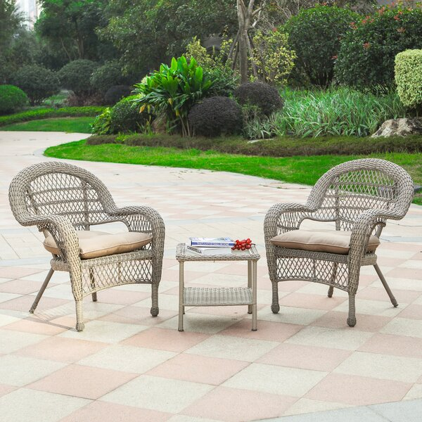 Meadville 3 Piece Rattan Seating Group with Cushions by Bay Isle Home