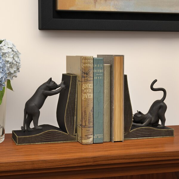 Cat Book End (Set of 2) by Three Posts