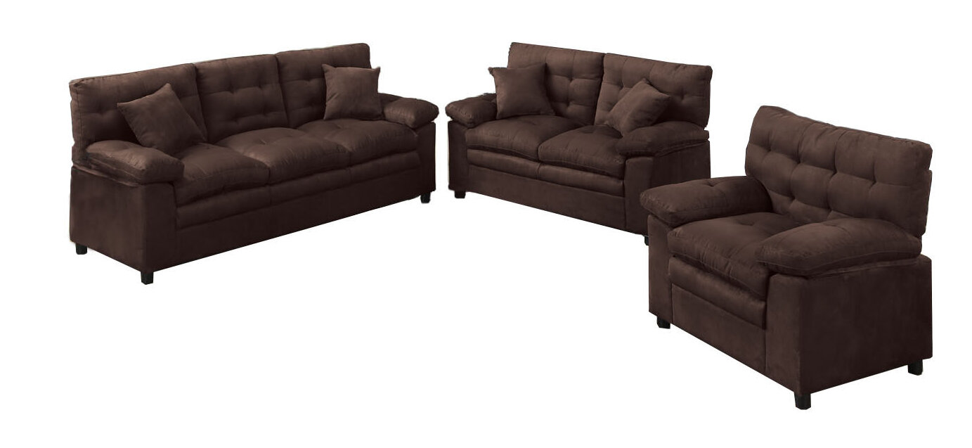 Red Barrel Studio Kingston 3 Piece Living Room Set U0026 Reviews | Wayfair
