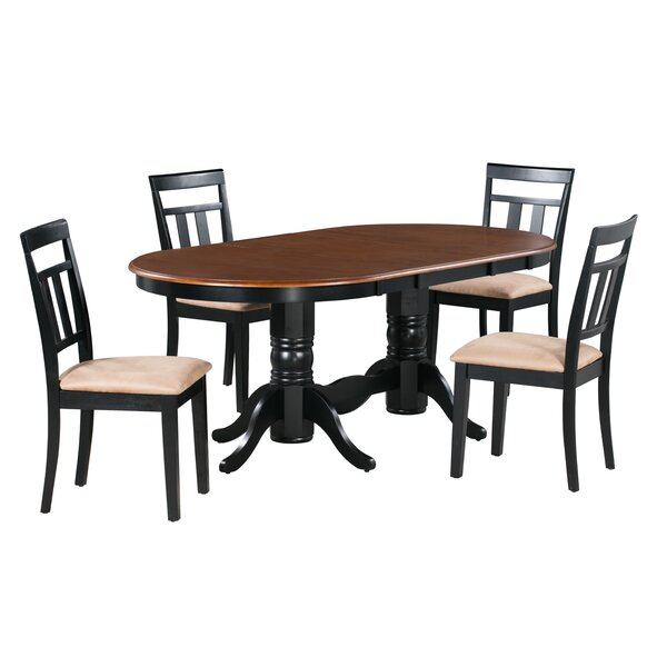 Munos 5 Piece Extendable Solid Wood Dining Set by Alcott Hill