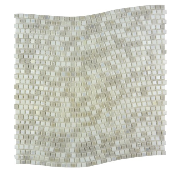 Galaxy Wavy 0.31 x 0.31 Glass Mosaic Tile in White Dwarf by Abolos