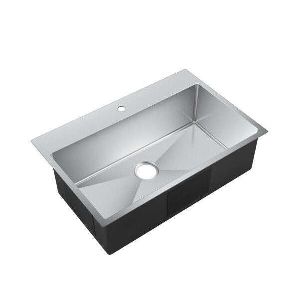 Water Creation 33 L x 22 W Drop-In Kitchen Sink with Strainer by dCOR design