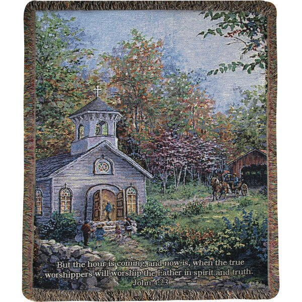 Worship in the Country Tapestry Cotton Throw by Manual Woodworkers & Weavers