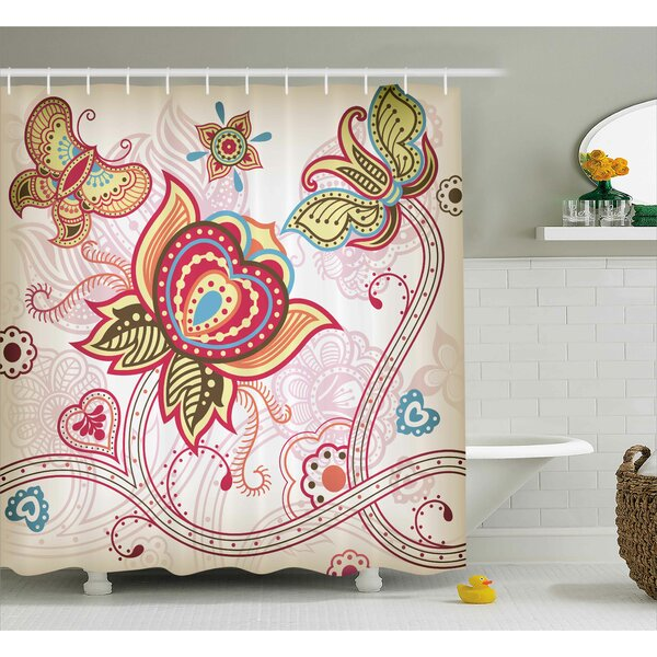 Darcelle Asian Style Butterflies Shower Curtain by Bungalow Rose