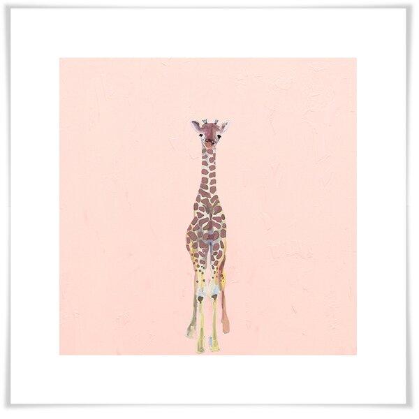 Antoine Baby Giraffe On Pink Paper Print by Harriet Bee