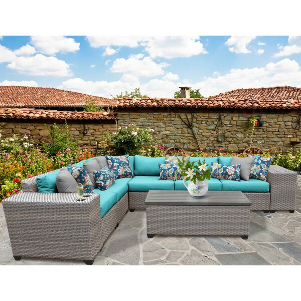 Meeks 9 Piece Rattan Sectional Seating Group with Cushions by Rosecliff Heights