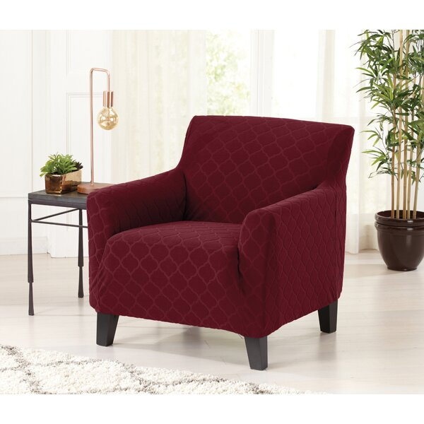 Geometric Jacquard Box Cuhion Armchair Slipcover by Red Barrel Studio