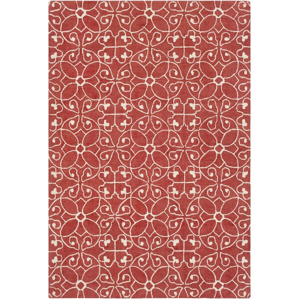 Arison Medallions and Damask Hand Hooked Wool Rust Area Rug by Charlton Home