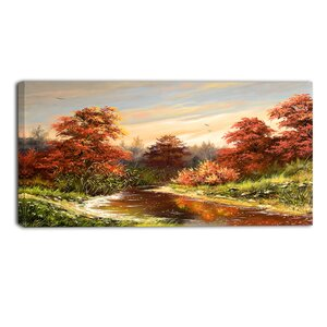The River Landscape Painting Print on Wrapped Canvas by Design Art