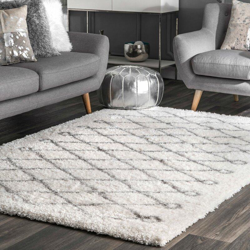 Wrought Studio Anel Geometric White Gray Area Rug Reviews Wayfair