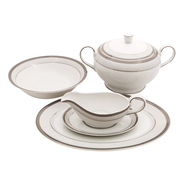 Diamond Fine China Special Serving 5 Piece Dinnerware Set by Shinepukur Ceramics USA, Inc.