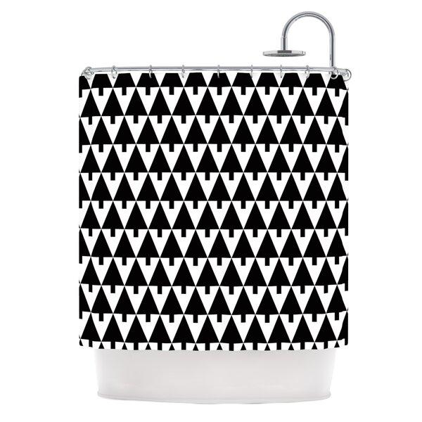 Happy X-Mas by Gabriela Fuente Geometric Shower Curtain by East Urban Home