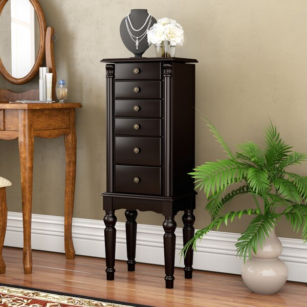 Fontanes Black Petite Ebony Jewelry Armoire With Mirror By Astoria Grand