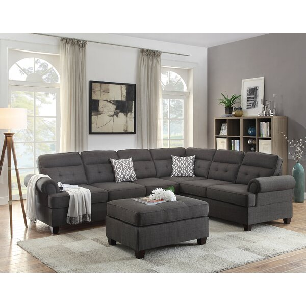 Bobkona Oliver Reversible Sectional with Ottoman by Poundex