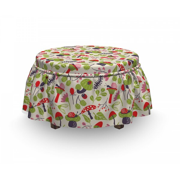Mushroom Ladybird Flower Snail 2 Piece Box Cushion Ottoman Slipcover Set By East Urban Home