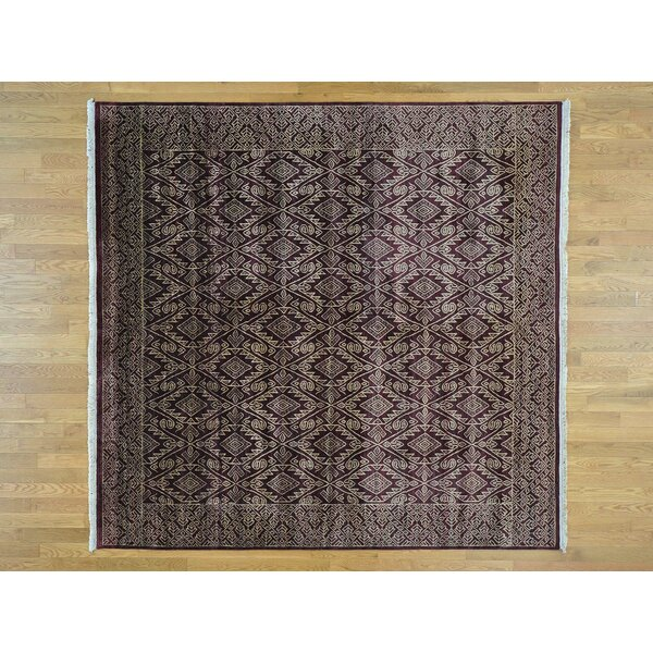 One-of-a-Kind Bean Geometric Design Hand-Knotted Red Wool Area Rug by Isabelline
