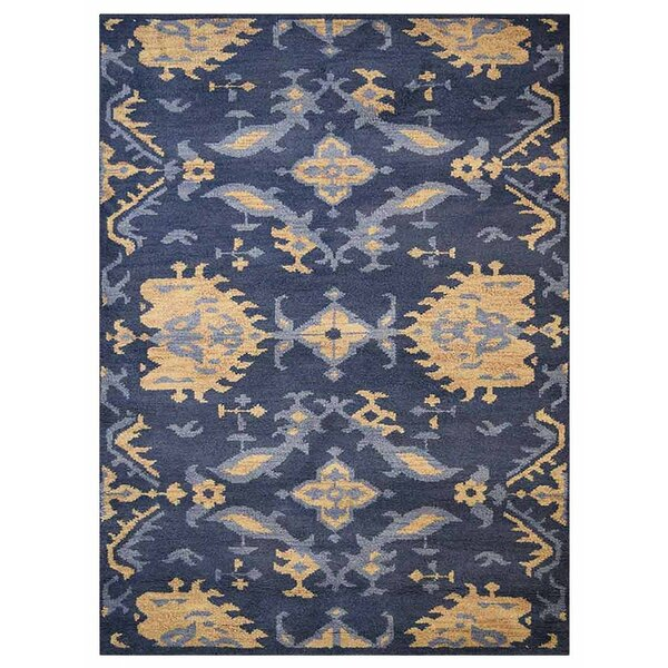 Hargrave Hand-Woven Wool Blue/Beige Area Rug by August Grove