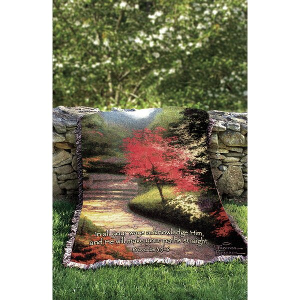 Afternoon Light Dogwood Tapestry Cotton Throw by Manual Woodworkers & Weavers