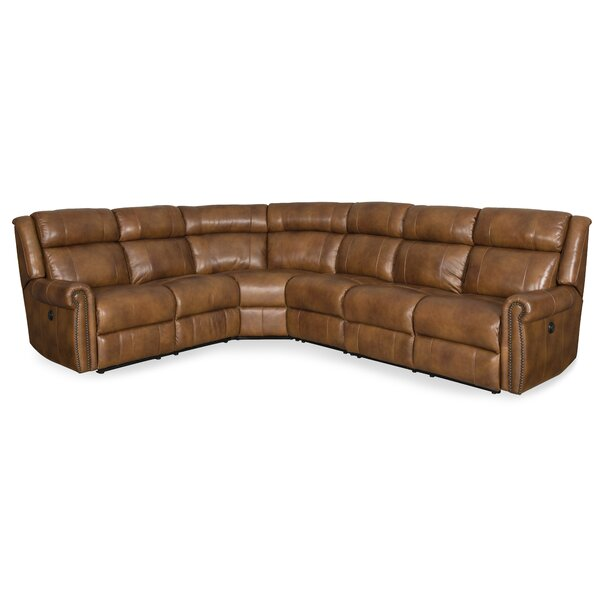 Review Esme Leather Left Hand Facing Reclining Sectional