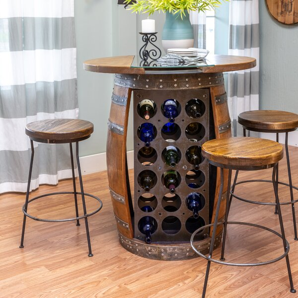 Mario Live Edge and Glass Top Wine Barrel Bar Set by Loon Peak Loon Peak