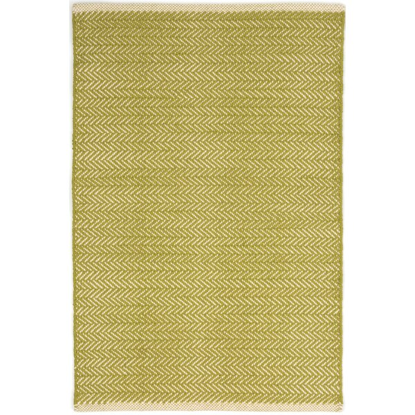 Herringbone Hand Woven Cotton Green Area Rug by Dash and Albert Rugs