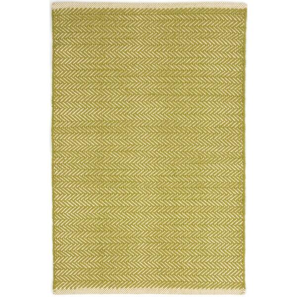 Herringbone Hand Woven Cotton Green Area Rug by Da
