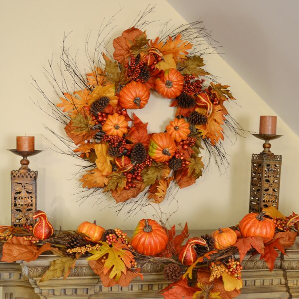 Deluxe Fall Pumpkin Wreath by Floral Home Decor