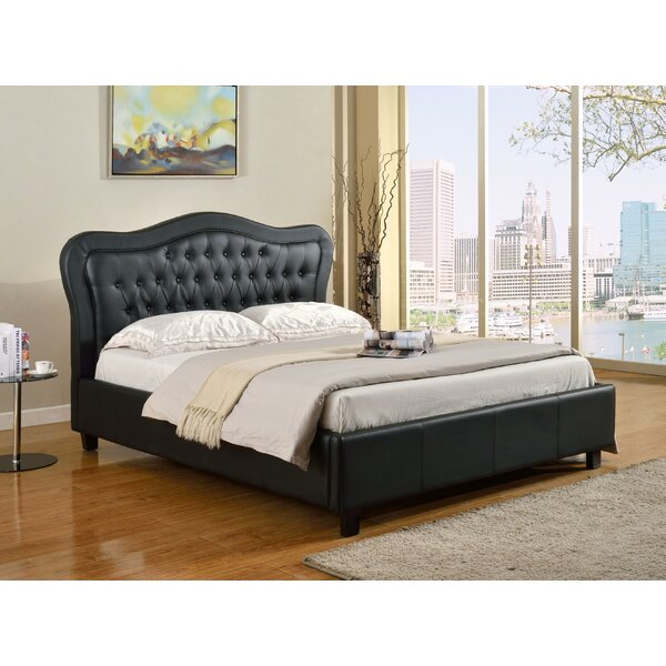Reece Upholstered Standard Bed with Curved Tufted Headboard by Rosdorf Park