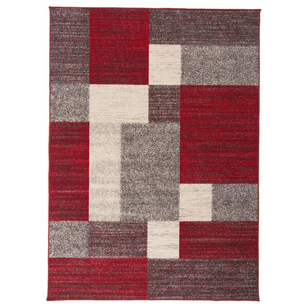 Colton Boxes Design Non-Slip Red/Brown Area Rug by Ebern Designs