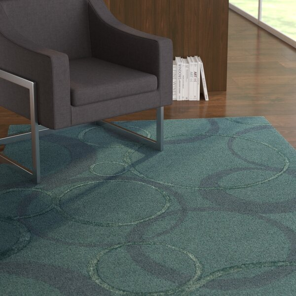 Moyes Hand-Tufted Navy Area Rug by Ebern Designs