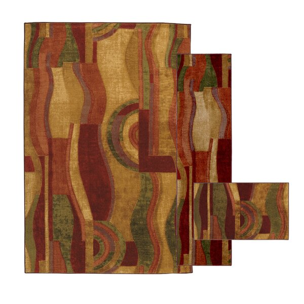 Ayers Village Picasso Wine Area Rug (Set of 3) by Red Barrel Studio