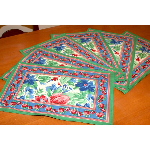 Floral Brush Placemat (Set of 6) by HOMESTEAD J.E.GARMIRIAN AND SON INC
